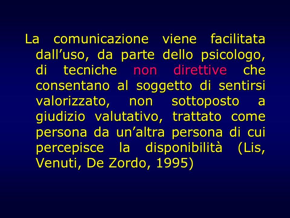 La comunicazione viene facilitata dalluso, da parte dello psicologo, di tecniche non direttive che consentano al soggetto di sentirsi valorizzato, non