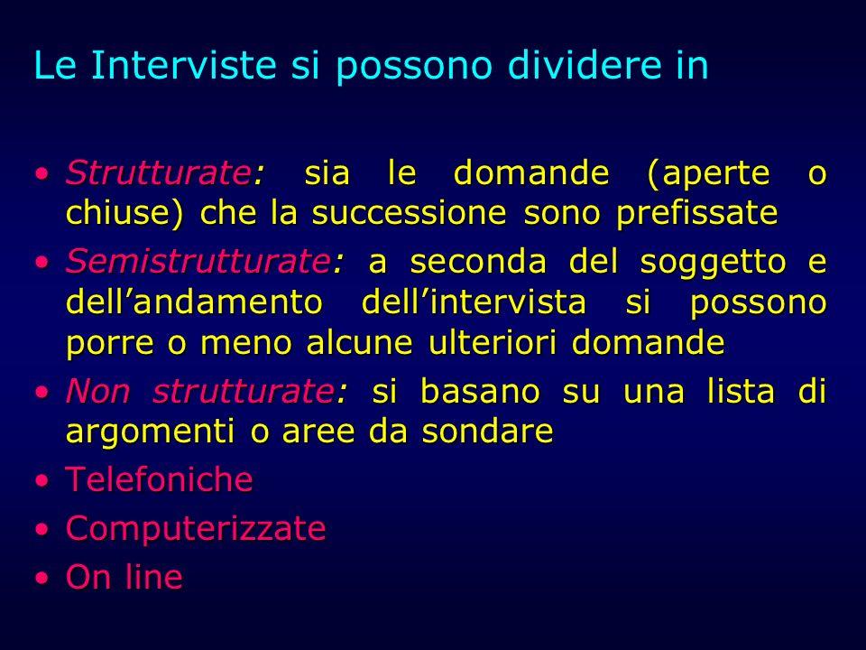 Le Interviste si possono dividere in Strutturate: sia le domande (aperte o chiuse) che la successione sono prefissateStrutturate: sia le domande (aper