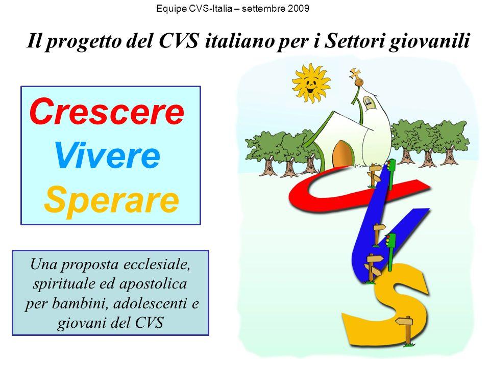 Crescere Vivere Sperare Una proposta ecclesiale, spirituale ed apostolica per bambini, adolescenti e giovani del CVS Il progetto del CVS italiano per