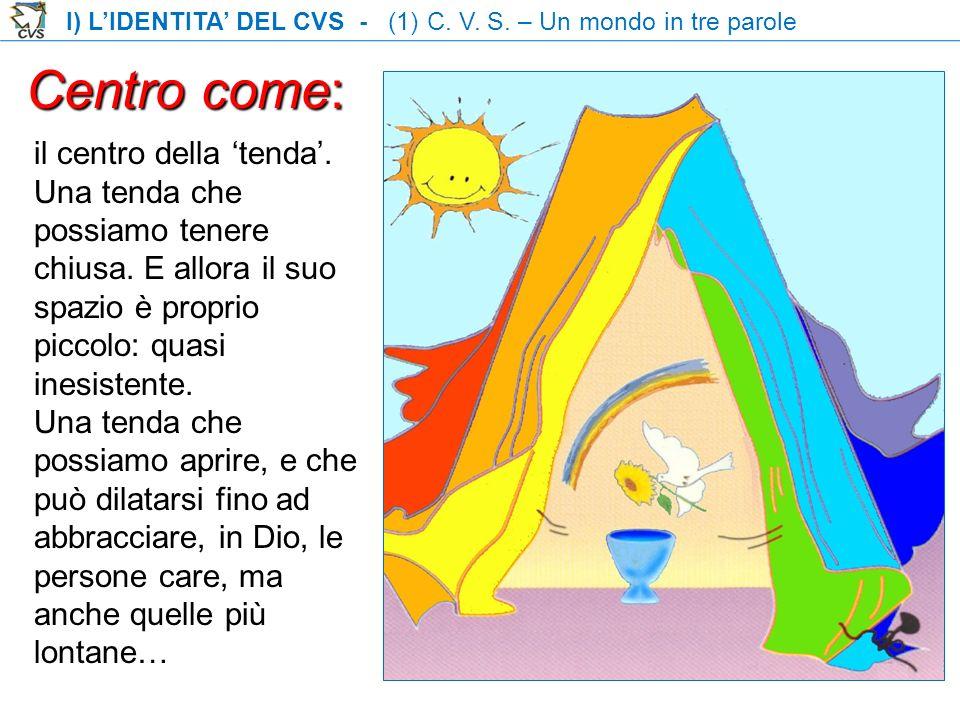 I) LIDENTITA DEL CVS - (1) C. V. S. – Un mondo in tre parole Centro come: il centro della tenda. Una tenda che possiamo tenere chiusa. E allora il suo