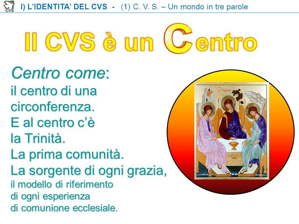 Centro come: il centro di una circonferenza. E al centro cè la Trinità. La prima comunità. La sorgente di ogni grazia, il modello di riferimento di og