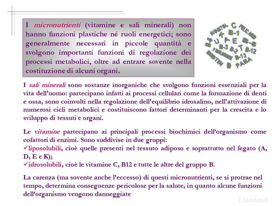 I micronutrienti (vitamine e sali minerali) non hanno funzioni plastiche né ruoli energetici; sono generalmente necessari in piccole quantità e svolgo