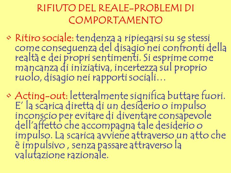 RIFIUTO DEL REALE-PROBLEMI DI COMPORTAMENTO Ritiro sociale: tendenza a ripiegarsi su se stessi come conseguenza del disagio nei confronti della realtà