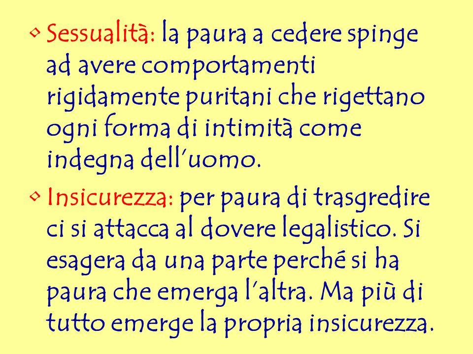 Sessualità: la paura a cedere spinge ad avere comportamenti rigidamente puritani che rigettano ogni forma di intimità come indegna delluomo. Insicurez