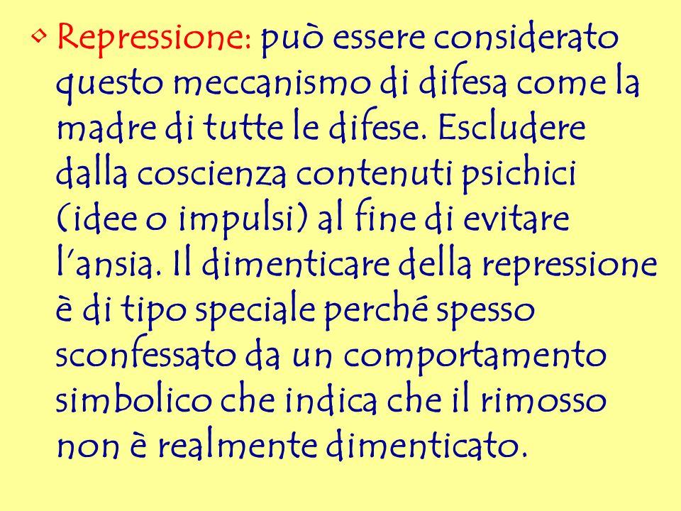 Repressione: può essere considerato questo meccanismo di difesa come la madre di tutte le difese. Escludere dalla coscienza contenuti psichici (idee o
