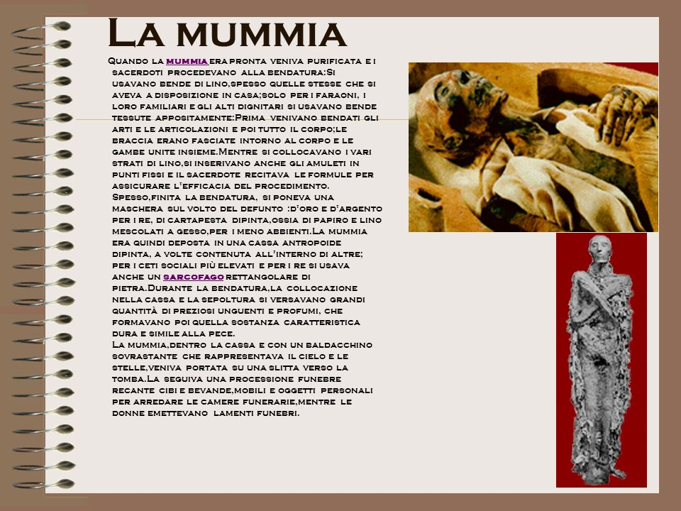 La mummia Quando la mummia era pronta veniva purificata e i sacerdoti procedevano alla bendatura:Si usavano bende di lino,spesso quelle stesse che si