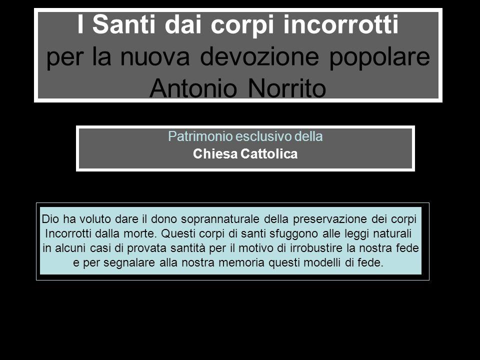 I Santi dai corpi incorrotti per la nuova devozione popolare Antonio Norrito Patrimonio esclusivo della Chiesa Cattolica Dio ha voluto dare il dono so