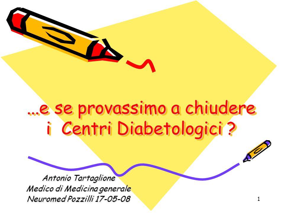 1...e se provassimo a chiudere i Centri Diabetologici ? Antonio Tartaglione Medico di Medicina generale Neuromed Pozzilli 17-05-08