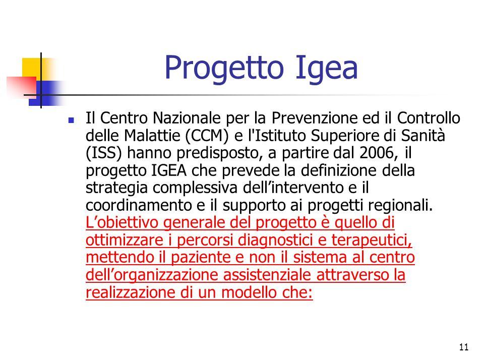 11 Progetto Igea Il Centro Nazionale per la Prevenzione ed il Controllo delle Malattie (CCM) e l'Istituto Superiore di Sanità (ISS) hanno predisposto,