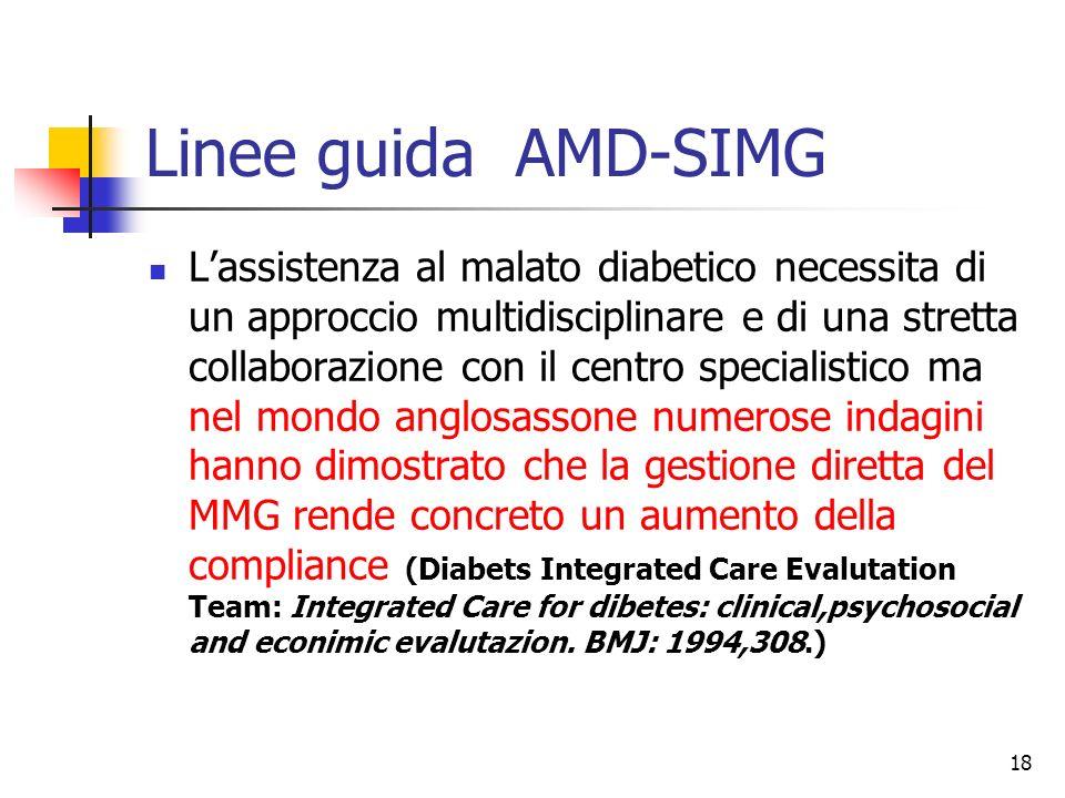 18 Linee guida AMD-SIMG Lassistenza al malato diabetico necessita di un approccio multidisciplinare e di una stretta collaborazione con il centro spec