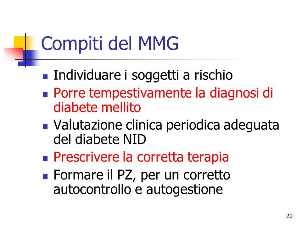 20 Compiti del MMG Individuare i soggetti a rischio Porre tempestivamente la diagnosi di diabete mellito Valutazione clinica periodica adeguata del di