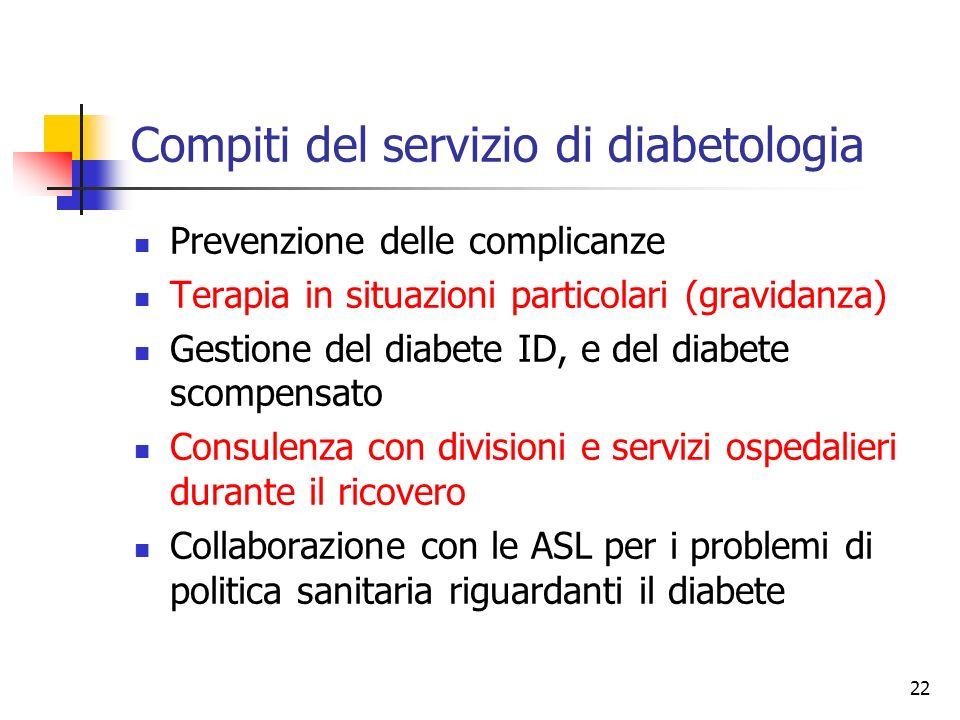22 Compiti del servizio di diabetologia Prevenzione delle complicanze Terapia in situazioni particolari (gravidanza) Gestione del diabete ID, e del di
