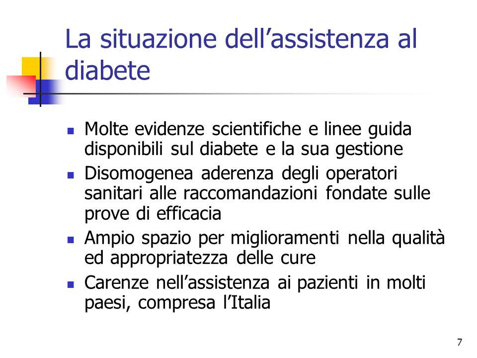 7 La situazione dellassistenza al diabete Molte evidenze scientifiche e linee guida disponibili sul diabete e la sua gestione Disomogenea aderenza deg