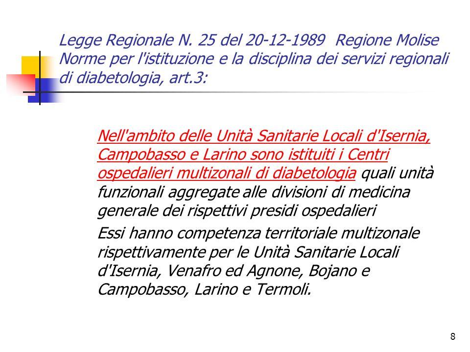 8 Legge Regionale N. 25 del 20-12-1989 Regione Molise Norme per l'istituzione e la disciplina dei servizi regionali di diabetologia, art.3: Nell'ambit