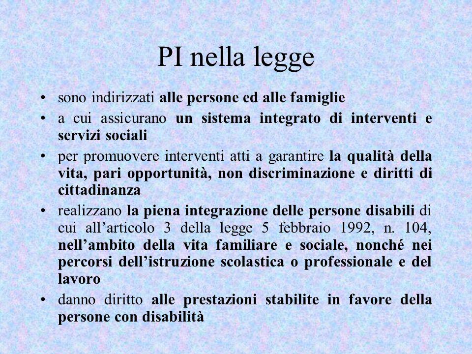 PI nella legge sono indirizzati alle persone ed alle famiglie a cui assicurano un sistema integrato di interventi e servizi sociali per promuovere int