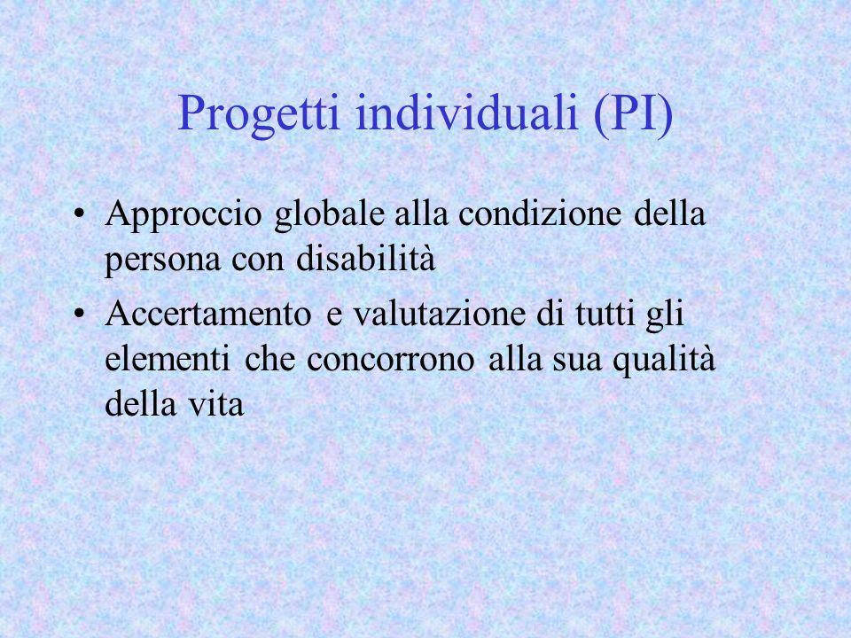 Progetti individuali (PI) Approccio globale alla condizione della persona con disabilità Accertamento e valutazione di tutti gli elementi che concorrono alla sua qualità della vita