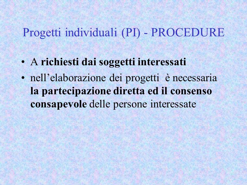 Progetti individuali (PI) - PROCEDURE A richiesti dai soggetti interessati nellelaborazione dei progetti è necessaria la partecipazione diretta ed il consenso consapevole delle persone interessate