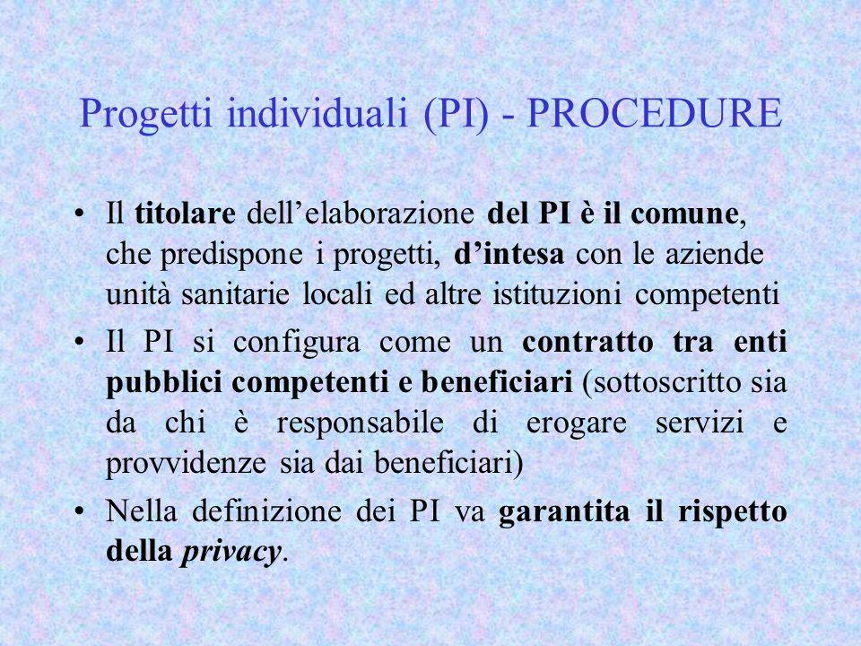 Progetti individuali (PI) - PROCEDURE Il titolare dellelaborazione del PI è il comune, che predispone i progetti, dintesa con le aziende unità sanitarie locali ed altre istituzioni competenti Il PI si configura come un contratto tra enti pubblici competenti e beneficiari (sottoscritto sia da chi è responsabile di erogare servizi e provvidenze sia dai beneficiari) Nella definizione dei PI va garantita il rispetto della privacy.