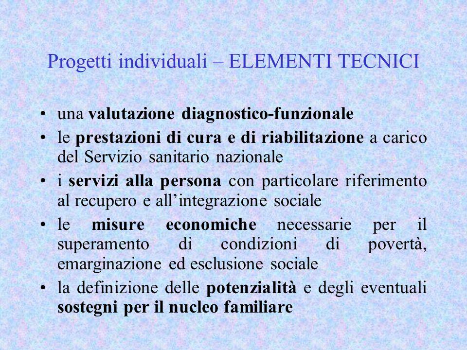 Progetti individuali – ELEMENTI TECNICI una valutazione diagnostico-funzionale le prestazioni di cura e di riabilitazione a carico del Servizio sanita