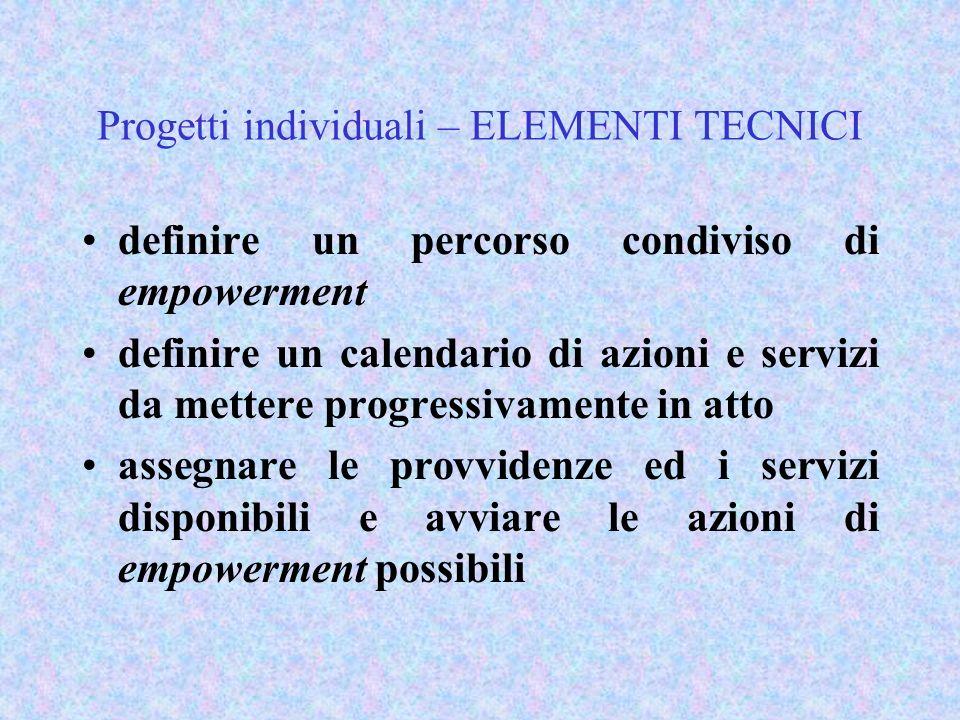Progetti individuali – ELEMENTI TECNICI definire un percorso condiviso di empowerment definire un calendario di azioni e servizi da mettere progressiv
