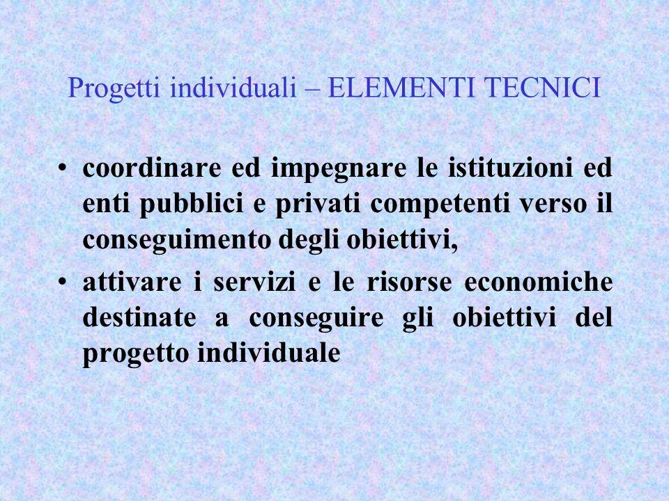 Progetti individuali – ELEMENTI TECNICI coordinare ed impegnare le istituzioni ed enti pubblici e privati competenti verso il conseguimento degli obie