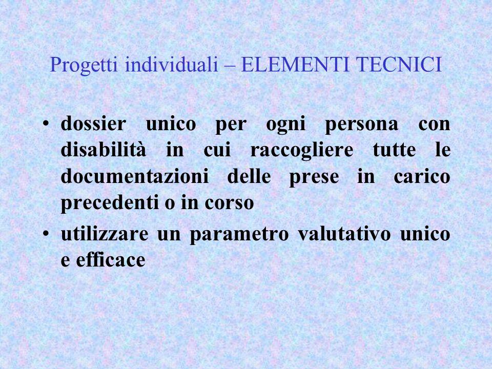 Progetti individuali – ELEMENTI TECNICI dossier unico per ogni persona con disabilità in cui raccogliere tutte le documentazioni delle prese in carico
