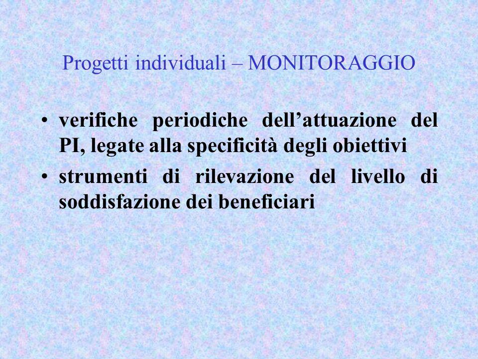 Progetti individuali – MONITORAGGIO verifiche periodiche dellattuazione del PI, legate alla specificità degli obiettivi strumenti di rilevazione del livello di soddisfazione dei beneficiari