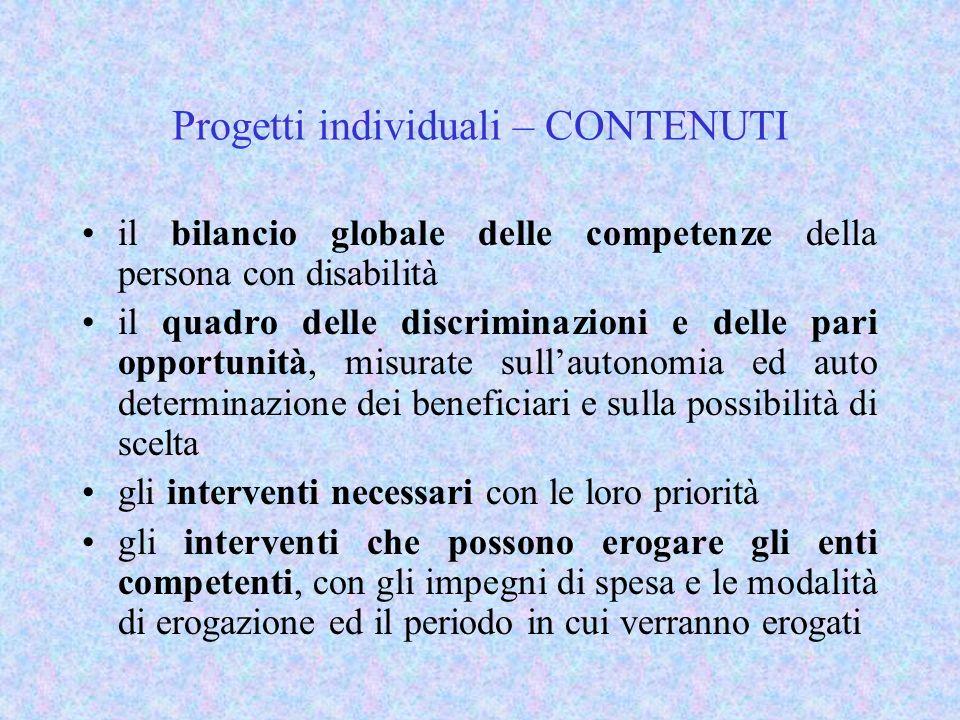 Progetti individuali – CONTENUTI il bilancio globale delle competenze della persona con disabilità il quadro delle discriminazioni e delle pari opport