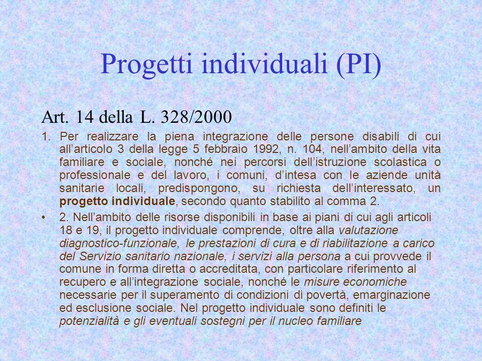 Progetti individuali (PI) Art. 14 della L. 328/2000 1. Per realizzare la piena integrazione delle persone disabili di cui allarticolo 3 della legge 5