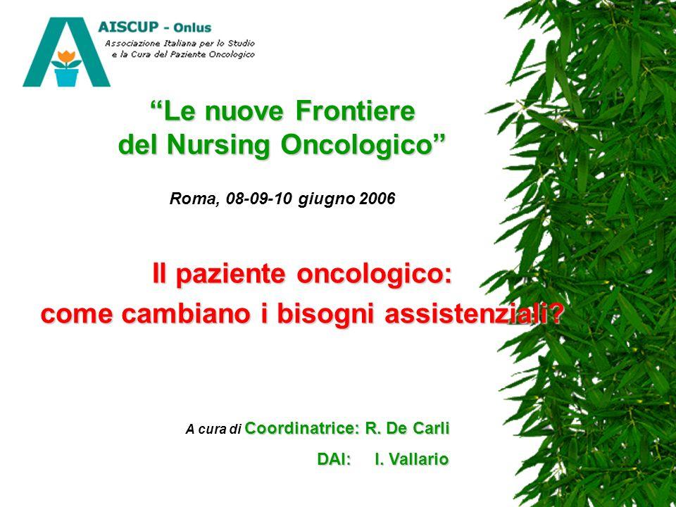 Le nuove Frontiere del Nursing Oncologico Le nuove Frontiere del Nursing Oncologico Roma, 08-09-10 giugno 2006 Il paziente oncologico: come cambiano i bisogni assistenziali.
