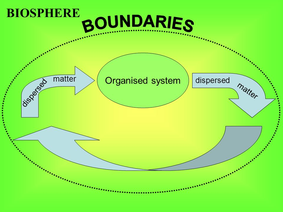 Organised system BIOSPHERE dispersed matter dispersed matter