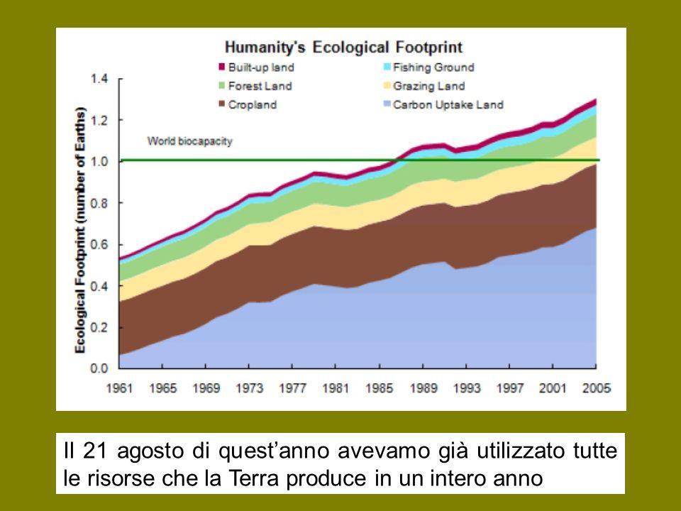 Il 21 agosto di questanno avevamo già utilizzato tutte le risorse che la Terra produce in un intero anno
