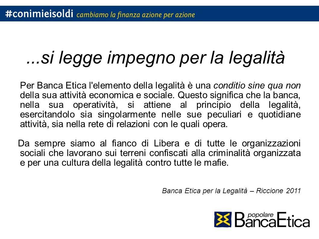 ...si legge impegno per la legalità Per Banca Etica l elemento della legalità è una conditio sine qua non della sua attività economica e sociale.