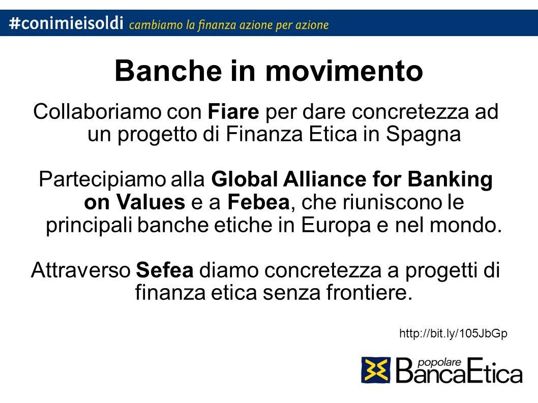 Banche in movimento Collaboriamo con Fiare per dare concretezza ad un progetto di Finanza Etica in Spagna Partecipiamo alla Global Alliance for Banking on Values e a Febea, che riuniscono le principali banche etiche in Europa e nel mondo.