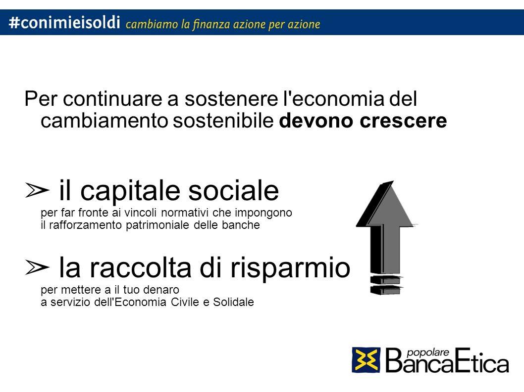 Per continuare a sostenere l economia del cambiamento sostenibile devono crescere il capitale sociale per far fronte ai vincoli normativi che impongono il rafforzamento patrimoniale delle banche la raccolta di risparmio per mettere a il tuo denaro a servizio dell Economia Civile e Solidale