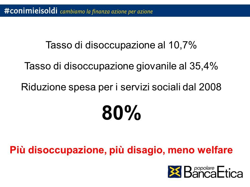 Tasso di disoccupazione al 10,7% Tasso di disoccupazione giovanile al 35,4% Riduzione spesa per i servizi sociali dal 2008 80% Più disoccupazione, più disagio, meno welfare