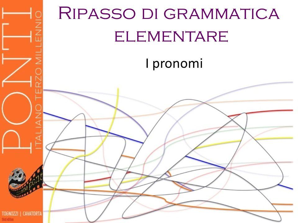 Ripasso di grammatica elementare I pronomi