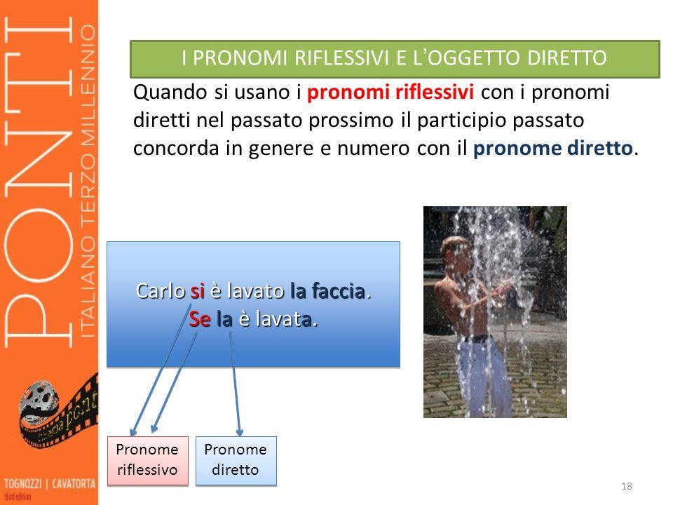 18 I PRONOMI RIFLESSIVI E L OGGETTO DIRETTO Quando si usano i pronomi riflessivi con i pronomi diretti nel passato prossimo il participio passato conc