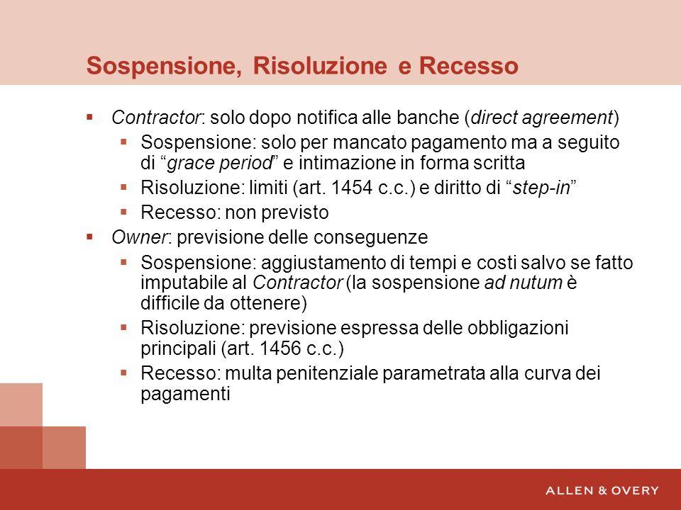 Sospensione, Risoluzione e Recesso Contractor: solo dopo notifica alle banche (direct agreement) Sospensione: solo per mancato pagamento ma a seguito