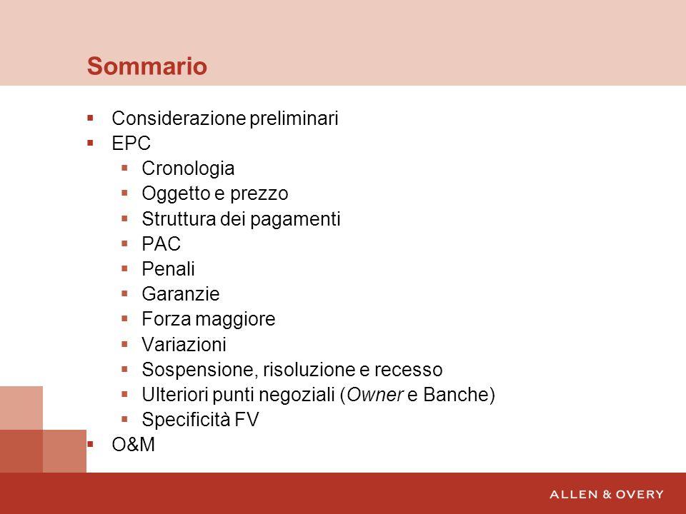 Ulteriori punti di attenzione – Owner Chiara allocazione dei costi per le utenze di cantiere Vendors List Spare parts (Inclusione nelloggetto.