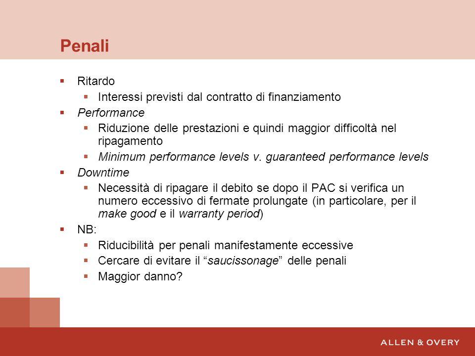 Penali Ritardo Interessi previsti dal contratto di finanziamento Performance Riduzione delle prestazioni e quindi maggior difficoltà nel ripagamento M
