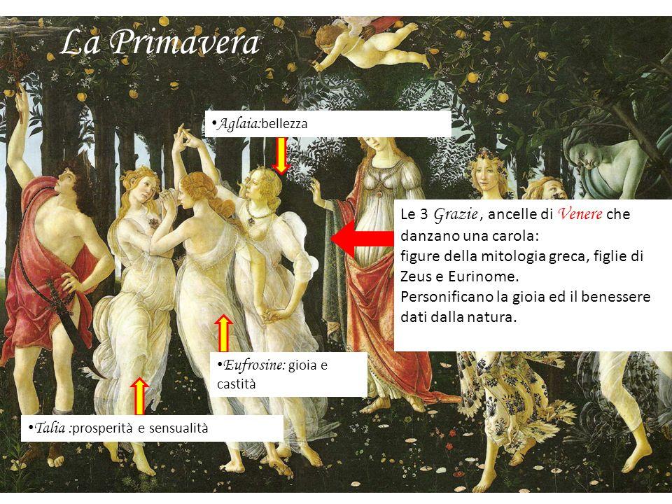 La Primavera Le 3 Grazie, ancelle di Venere che danzano una carola: figure della mitologia greca, figlie di Zeus e Eurinome. Personificano la gioia ed