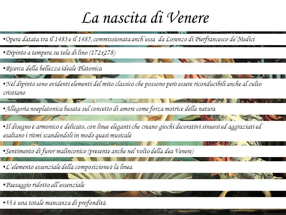 La nascita di Venere Opera datata tra il 1483 e il 1485, commissionata anchessa da Lorenzo di Pierfrancesco deMedici Dipinto a tempera su tela di lino