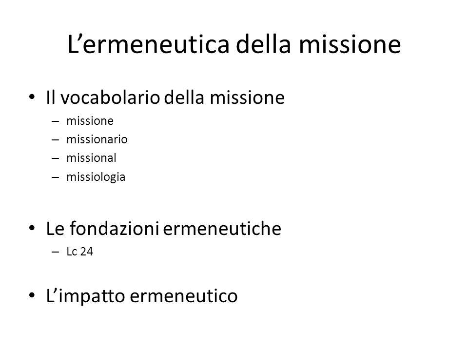 Lermeneutica della missione Il vocabolario della missione – missione – missionario – missional – missiologia Le fondazioni ermeneutiche – Lc 24 Limpat