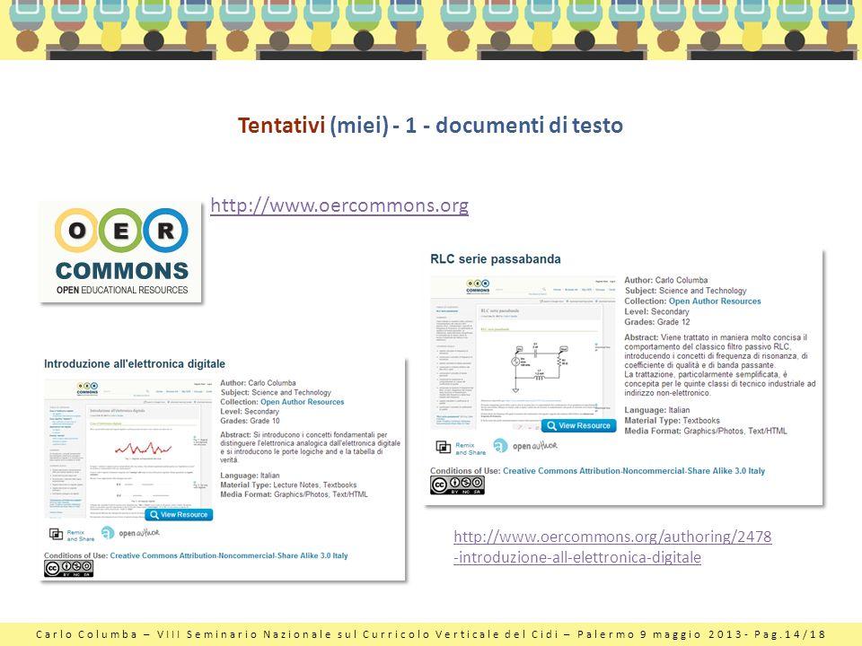 Carlo Columba – VIII Seminario Nazionale sul Curricolo Verticale del Cidi – Palermo 9 maggio 2013- Pag.14/18 Tentativi (miei) - 1 - documenti di testo