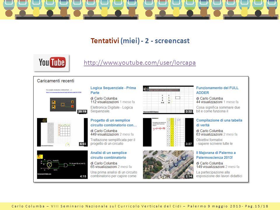 Carlo Columba – VIII Seminario Nazionale sul Curricolo Verticale del Cidi – Palermo 9 maggio 2013- Pag.15/18 Tentativi (miei) - 2 - screencast http://