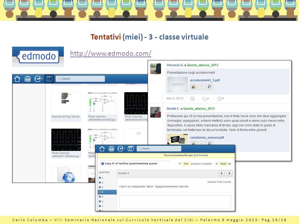 Carlo Columba – VIII Seminario Nazionale sul Curricolo Verticale del Cidi – Palermo 9 maggio 2013- Pag.16/18 Tentativi (miei) - 3 - classe virtuale ht