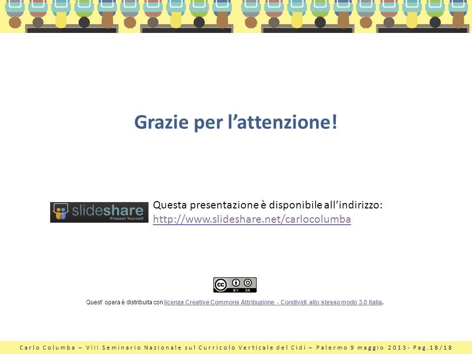 Carlo Columba – VIII Seminario Nazionale sul Curricolo Verticale del Cidi – Palermo 9 maggio 2013- Pag.18/18 Grazie per lattenzione! Questa presentazi