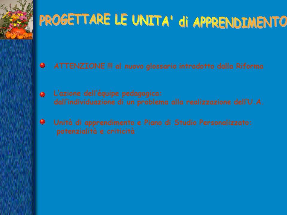 ATTENZIONE !!! al nuovo glossario introdotto dalla Riforma Lazione delléquipe pedagogica: dallindividuazione di un problema alla realizzazione dellU.A