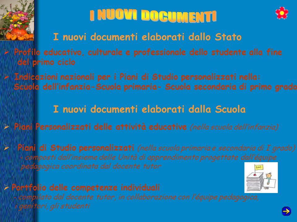 I nuovi documenti elaborati dallo Stato Profilo educativo, culturale e professionale dello studente alla fine del primo ciclo Indicazioni nazionali pe